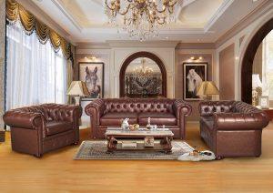 Fabric Leather Velvet Classic Chesterfield Sofa Set