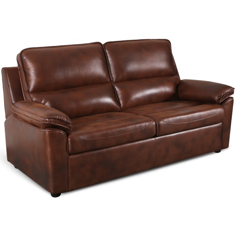 European style modern leather sectional folding 2 in 1 reclining pull out sofa bed