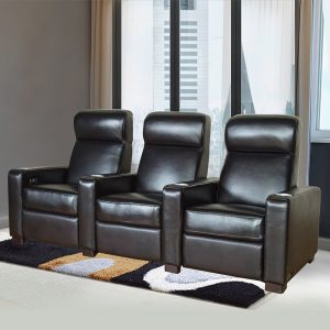 Luxury 3 seater Black Leather Electric Home Theater Recliner Sofa