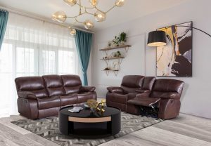 Modern 3 Seater Brown Leather Living Room Sofa Set