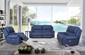 modern navy fabric electric  recliner sofa