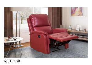 small Red one Seater leather recliner sofa chair