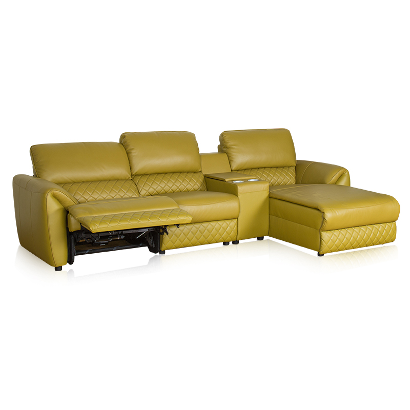 large modern style yellow l shaped sectional sofa with recliner