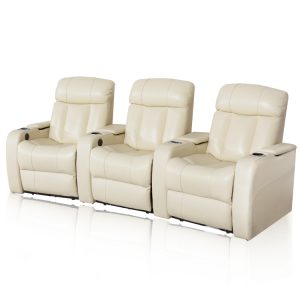 Cream 3 seater power home cinema recliner sofa