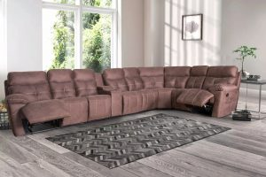 Big Brown Fabric Corner Sofa Sofa Bed with Storage