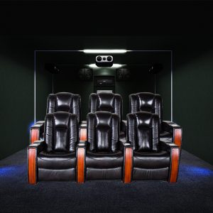 luxury automatic home theater leather recliner sofa with power headrest