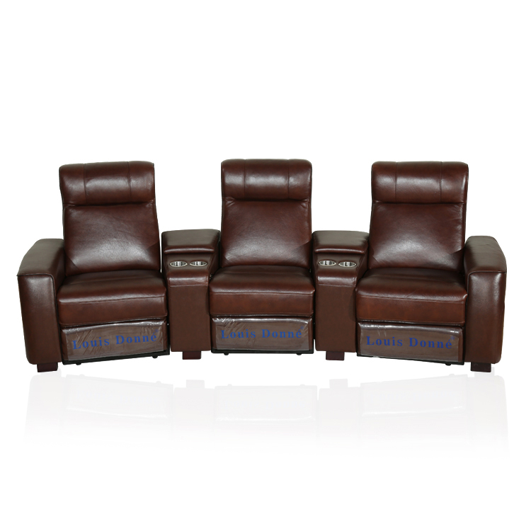 3 Seater Leather Power Recliner Cinema Room Sofa