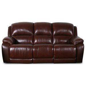 Large 2 Seater Double Recliner Leather Sofa with Console