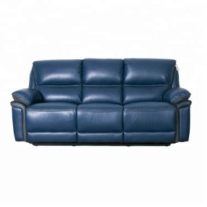 Blue 3 Seater Leather Air Living Spaces Reclining Sofa