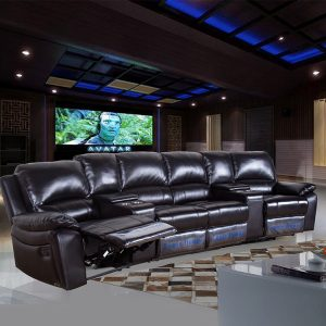 Black Electric Home Theatre Lounge Sectional Recliner Sofa Set with Cup Holders