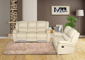 Cream Polyester Fabric Sofa  Set for Small Living Room