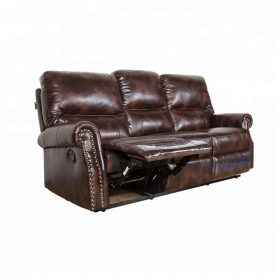 Brown Leather Single Power  Recliner Sofa Chair in Living Room