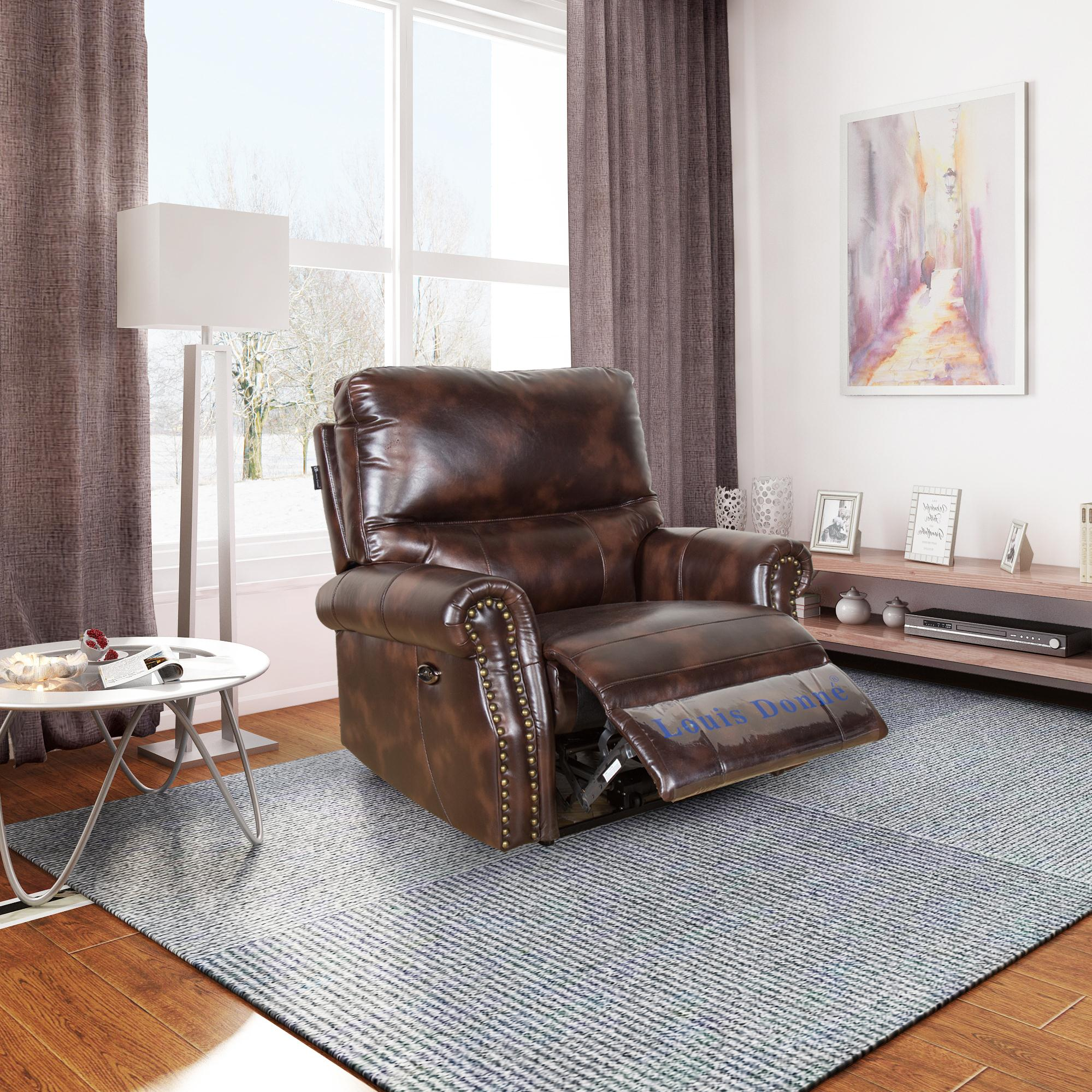 manual reclining leather sofa