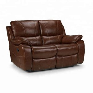 Luxury Brown Two Seater Leather Sofa for Living Room