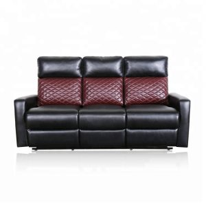 Most Comfortable Small Leather Sofa with Red Check Design