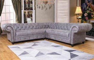 Cheap Grey Fabric Chesterfield Corner Sofa