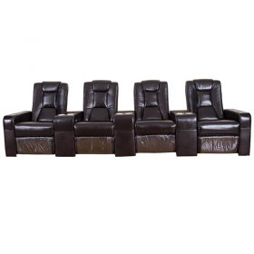Large Electric Genuine Leather Theater Seating Sectional Couch Sofa Set