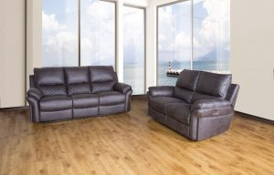 Dark Grey Fabric Double Recliner Sofa Set with Check Design