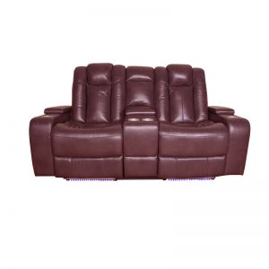 Good Quality Chocolate Brown 2 Seater Theatre Recliner Leather Sofa