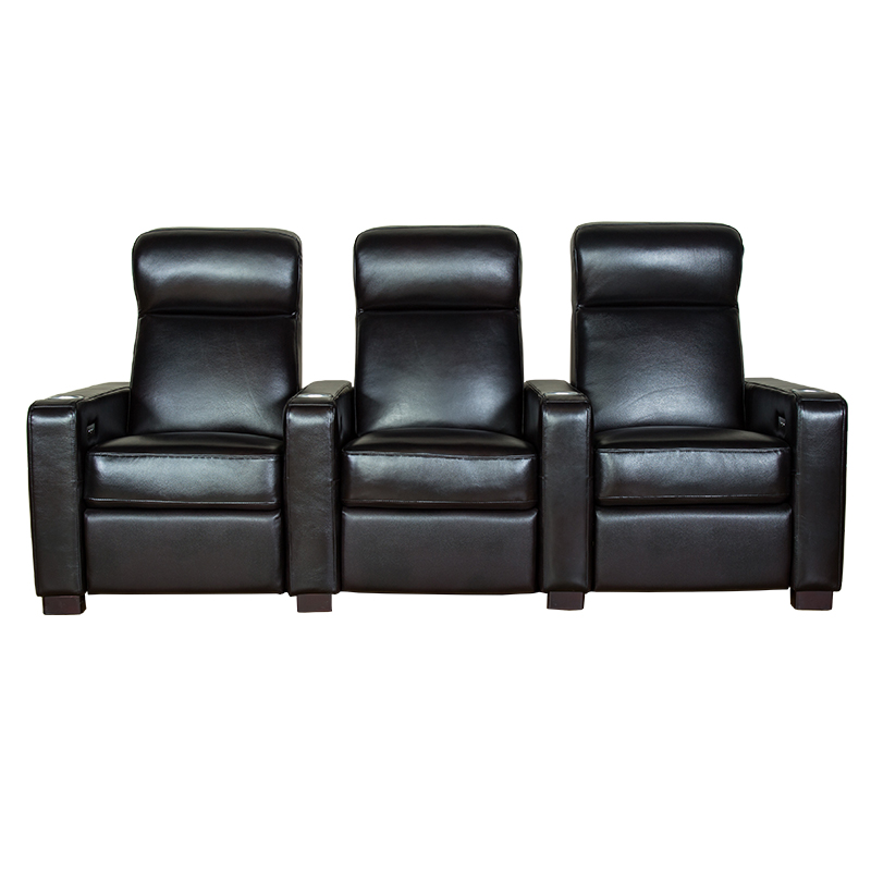 Black 3 Seater Home Theatre Leather Recliner Sofa Living Room