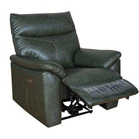 Trendy Dark Green Leather Electric Recliner Sofa
