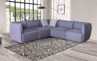 Small Modern Grey Fabric Corner Sectional Sofa