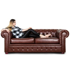Classic Mini Chesterfield Leather Sofa and Chairs