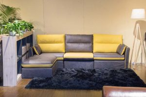 Modern Contemporary Sectional Yellow and Grey Fabric L Shape Modular Sofa