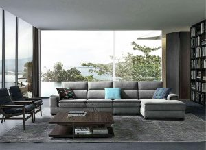 Modern Small Light Grey L Shaped Fabric Sectional Sofa
