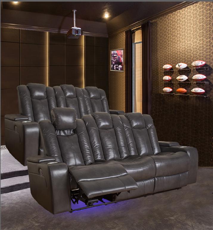 grey leather reclining sofa set