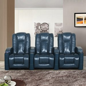 Navy Blue 3 Seater Leather Stadium Seating Recliner Couch Sofa
