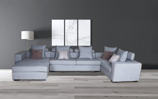 Modern Light Grey L Shaped Sofa Set
