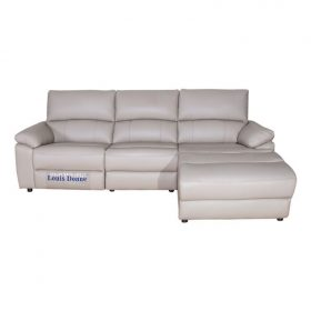 Cream L Shape Leather  Sectional Sleeper Sofa
