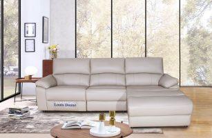 Cream L Shape Leather  Sectional Sleeper Sofa
