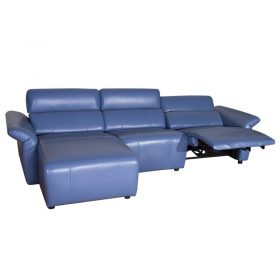 L Shape Light Blue Leather Electric power headrest  Recliner  Sofa
