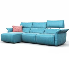 L Shape Light Blue Leather Electric power headrest  Recliner  Sofa
