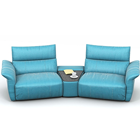 Fashion sky blue leisure leather electric recliner sofa