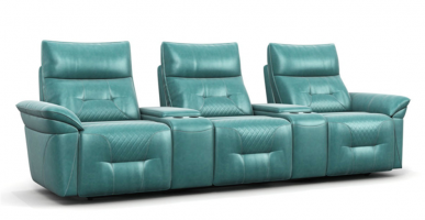 Stylish light green leather electric home theater