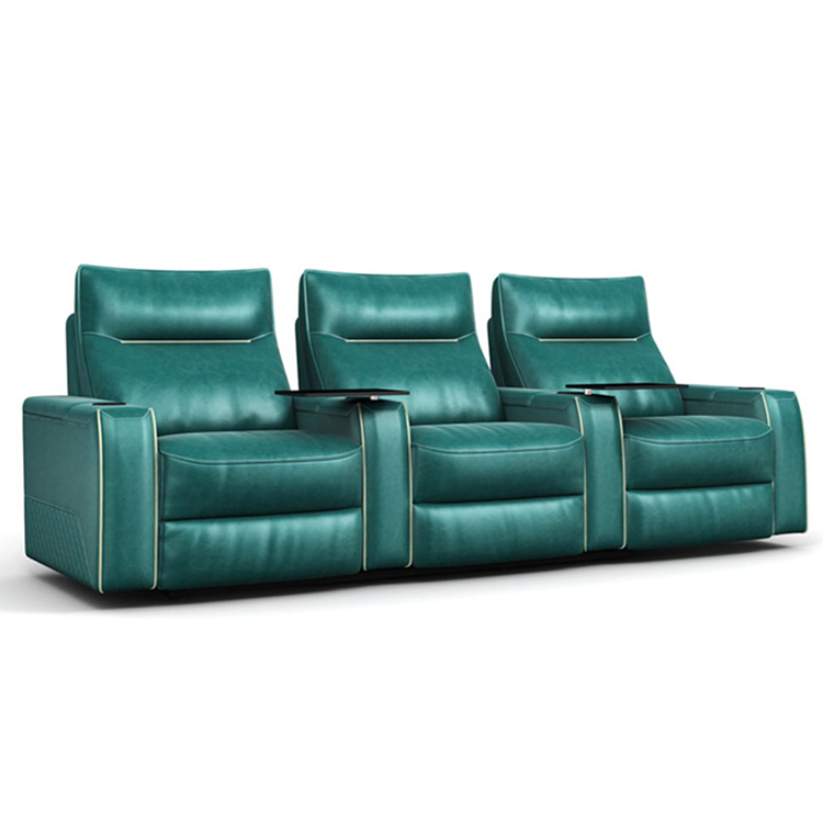 Classic green three-seater leather electric home theater sofa