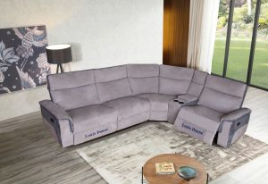 Custom Silver Grey Corner Recliner Sofa