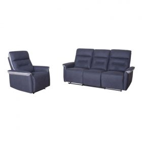 European Style Light Grey Fabric Recliner Sofa Set in Home Furniture