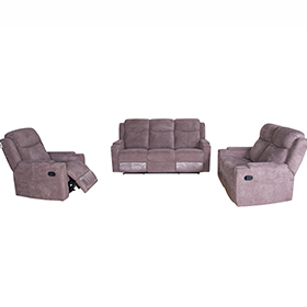 Nordic Brown Fabric Recliner Sofa with Storage Arms for Small Living Room