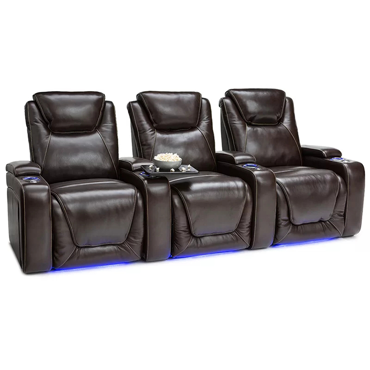 Louis Donne Brown Leather Home Theater Seat