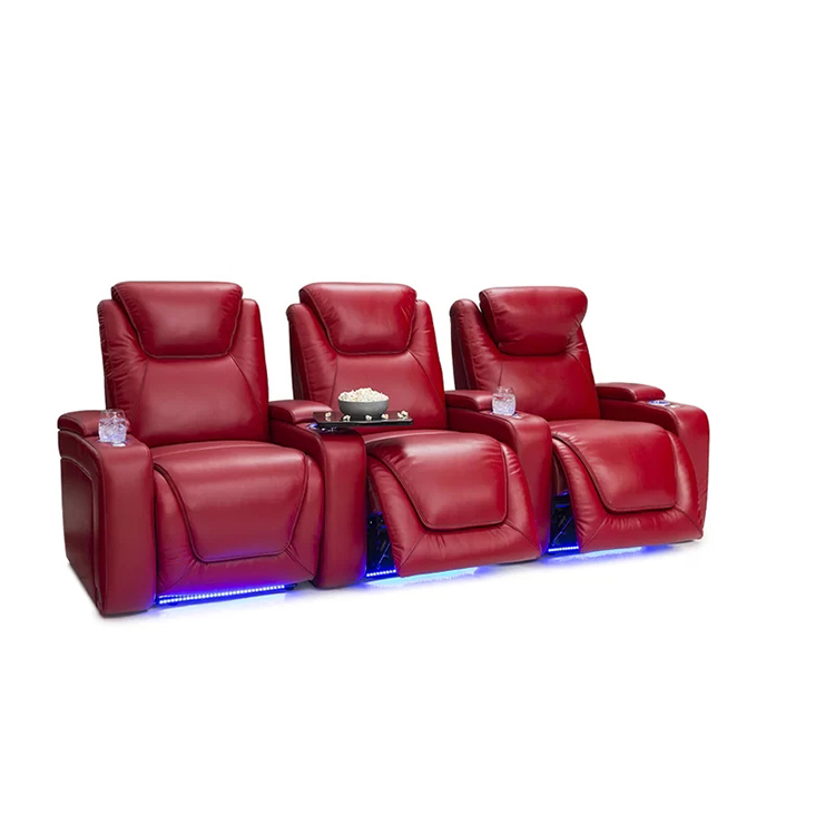 Louis Donne Red Genuines Leather 3 Seat VIP Home Theater Sofa