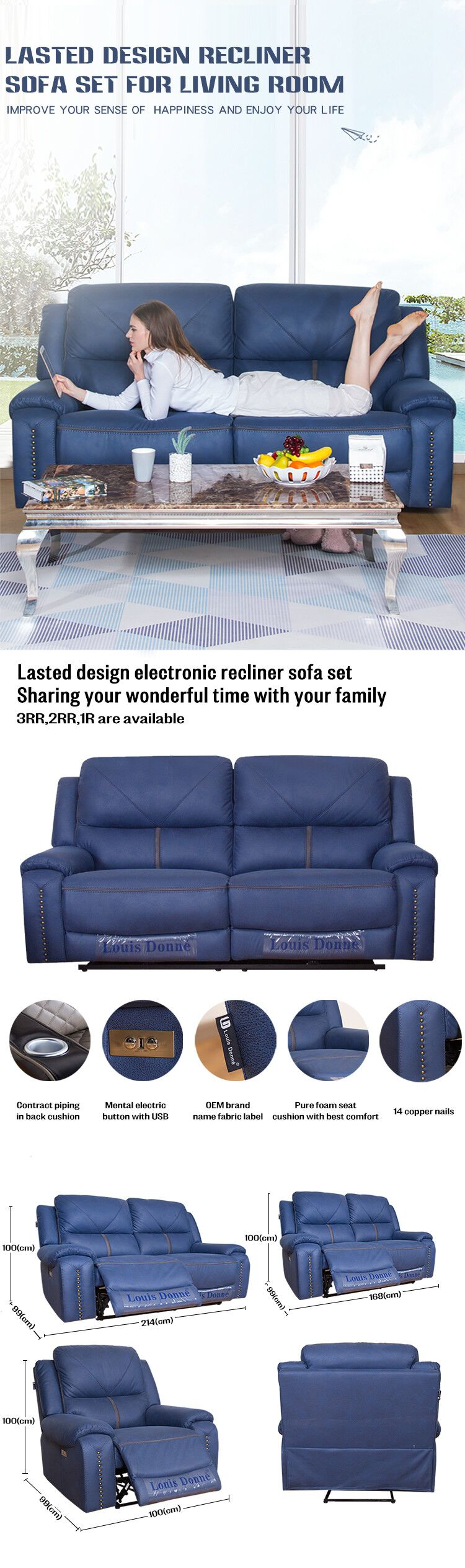 Best Blue Electric Recliner Chair with USB Port - Shenzhen Mebon